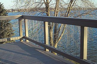 Glass railing over lake