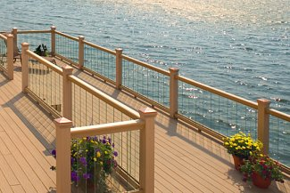Glass railing over lake with balusters