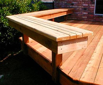 Deck bench angled as rail