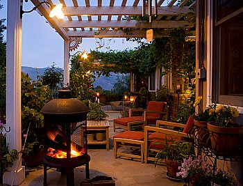 Patio with Pergola and Portable Fireplace