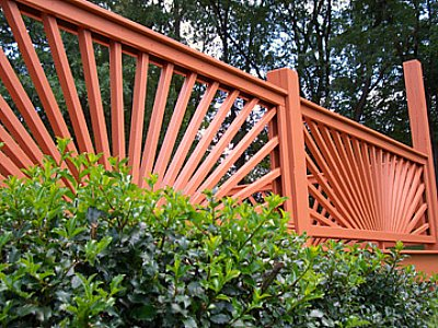 Deck Railing - wood, sunburst