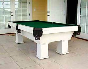 Outdoor pool table under covered patio