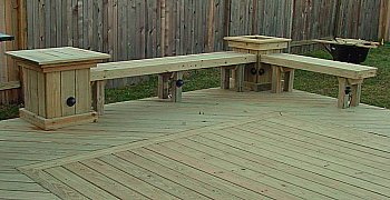 Deck bench with table and planter