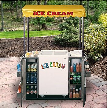 beverage cart with ice cream