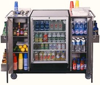 beverage cart with drinks