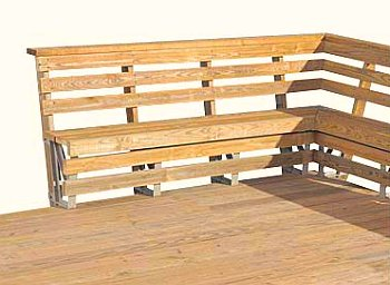 Download Wooden Deck Railing Bench Plans PDF