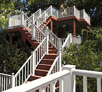 Deck Railing - white vinyl stairs