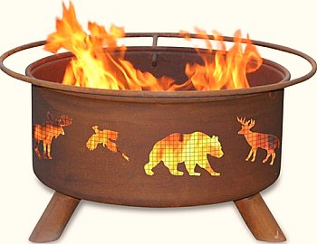 fire pit with wildlife motiff