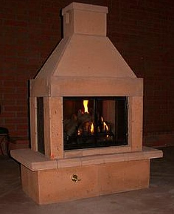 outdoor fireplace sandstone