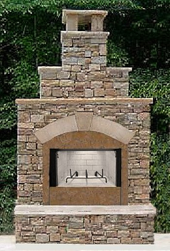 outdoor fireplace stacked stone