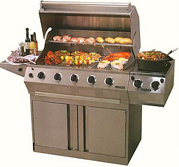 gas grill with food