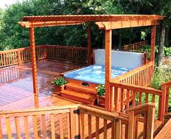 hot tub deck with pergola