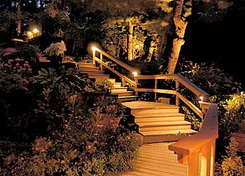 paint your backyard with outdoor lighting