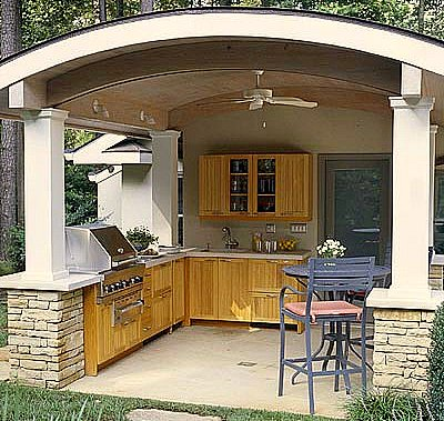 Dahkero shed with covered porch plans for Covered outdoor kitchen designs