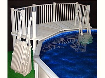 Top above ground pool deck for your backyard for Pool platform ideas