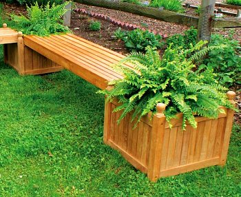 teak planter with bench
