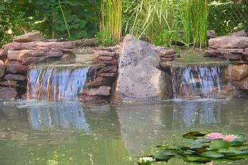 Backyard Waterfall Into Pond
