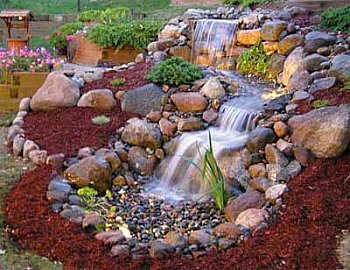Waterfall Landscape Design Ideas landscape design ideas natural stones waterfall wooden deck outdoor furniture Yard Waterfalls Garden Design