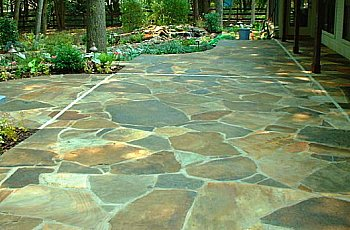 Flagstone with mortar