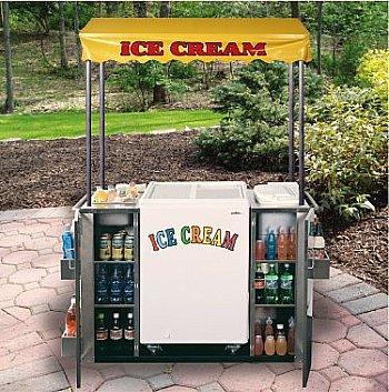 beverage cart with ice cream