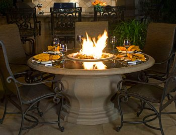 fire pit on dining table