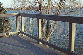 Glass railing over lake