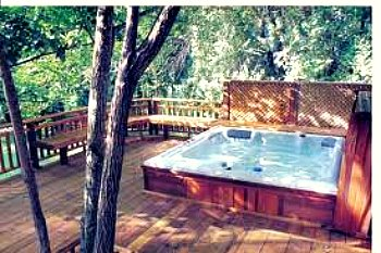 hot tub deck with lattice