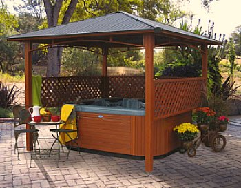 hot tub under gazebo
