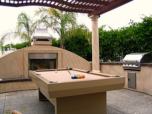 Outdoor pool table with kitchen