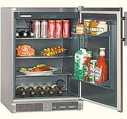 outdoor refrigerator with open door