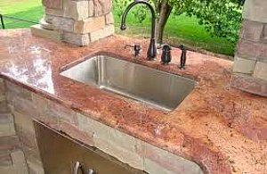 outdoor sink in granite bar