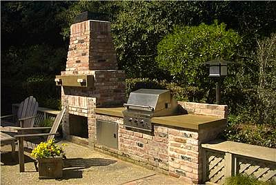 Brick outdoor kitchen with fireplace