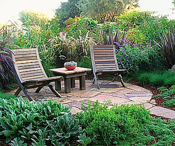 Round Patio with Small Chairs