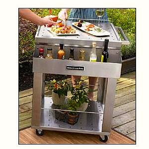 outdoor serving cart - stainless steel