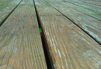 Staining old deck boards