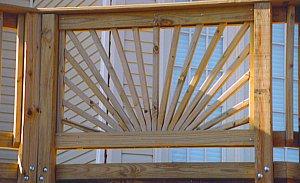sunburst deck railing - full width