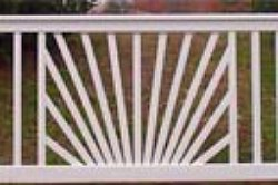 sunburst deck railing - white