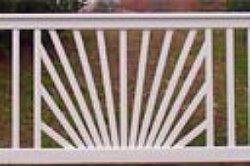 sunburst deck railing - white