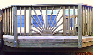 sunburst deck railing - no outside rail
